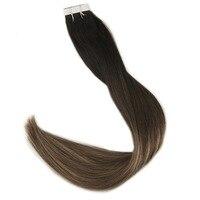 Полный глянцевая лента в режиме реального Remy Пряди человеческих волос для наращивания 100 г Цвет # 1B с черной потертостями до #6 и #27 Блондинка