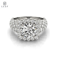 LESF Silver 925 Jewelry Women Rings Luxury 1 ct Round Cut Zircon Stones Wedding Engagement Rings Can Be Customized