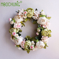 Artificial Floral Hoop Peony Wreaths Door Decorative Flowers Home Party Decor Garland Christmas Wreath Wedding Decorations 40cm