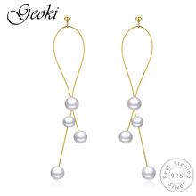 Geoki 925 Sterling Silver Long White Pearl Earrings Women S925 Original Gold-color Round Small Pearls Stud Earrings Luxury Gift цена