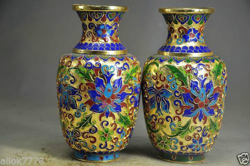 A Pair Of Chinese Hand Made Copper Cloisonne Vase Flowers In Bottles