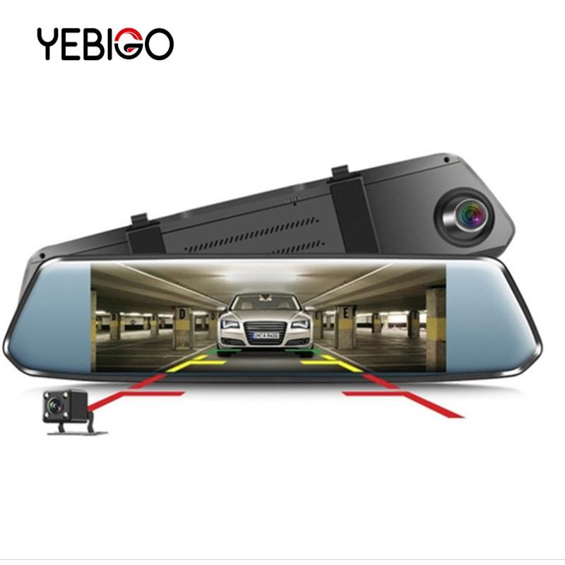 YEBIGO Macchina Fotografica Dell'automobile DVR Dual Lens 7.0 pollice Full HD 1080 p Dashcam Specchio Retrovisore Video Recorder Registrator Car Cam dash Cam 7