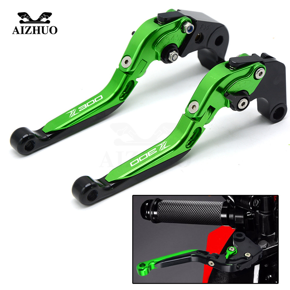 Motorcycle CNC Aluminum Adjustable Folding Extendable Clutch Lever Brake Levers For Kawasaki Z300 Z 300 Z300ABS 2008-2017 free shipping bicycle autobike motorbike brake motorcycle brake clutch levers hydraulic clutch lever 90cm black