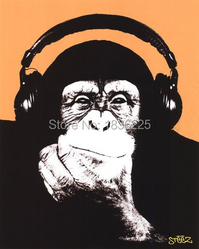 Lustige Tiere Gorilla Tragt Kopfhorer Olgemalde Tapeten Beste