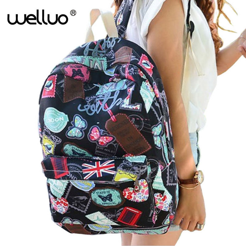 2016 Hot famous brands women canvas backpack women bags ladies travel bag school bags students backpacks