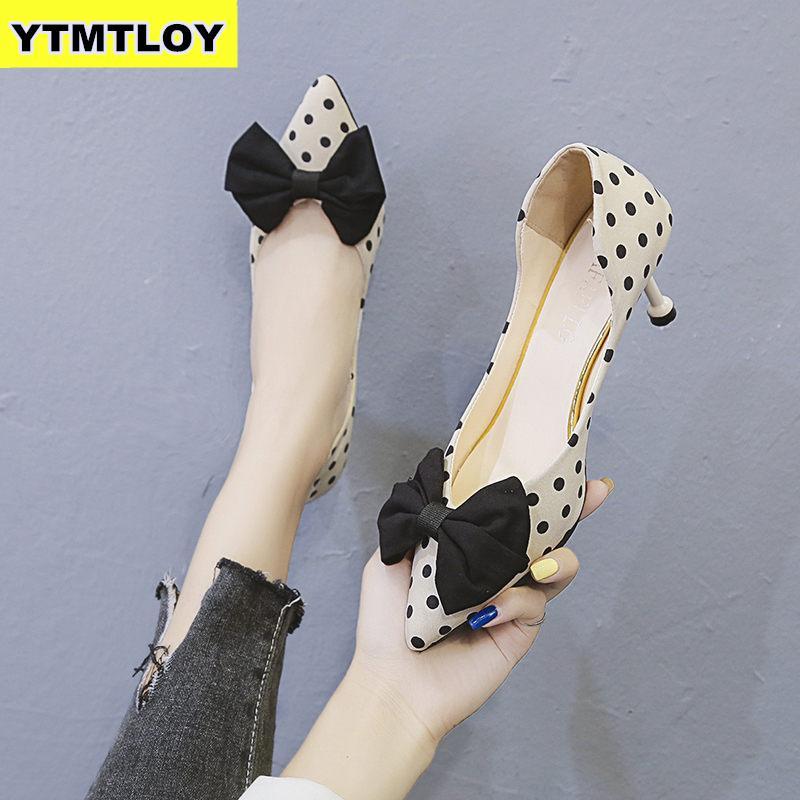 2019 High Heel Wedding Party Shoes Women Pumps Stiletto Thin Heel Pointed Toe Bowtie Bee Matal Zapatos Shallow Dress 6cm Heel