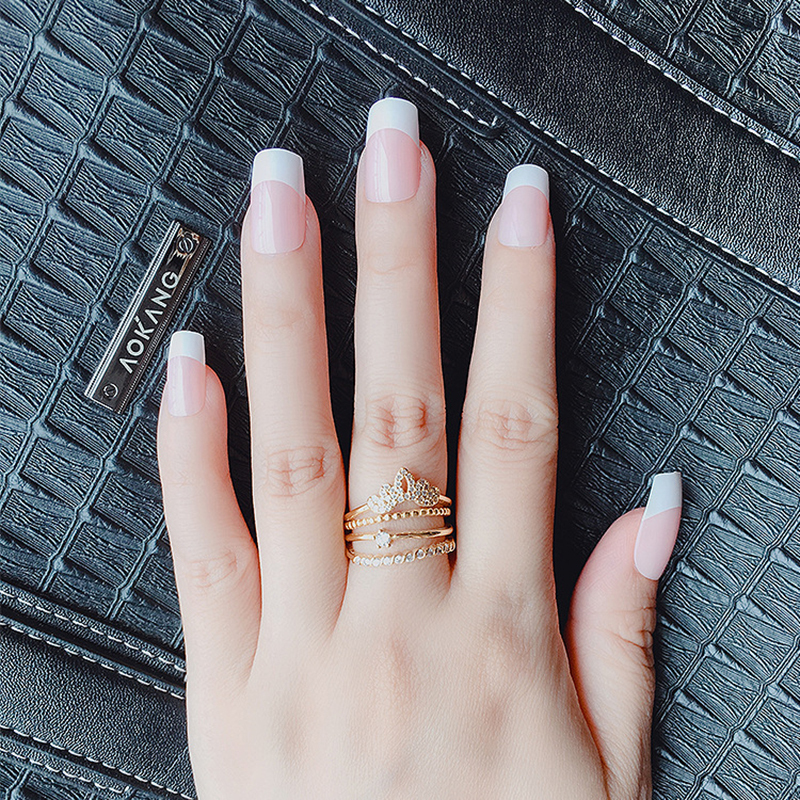 1lot 10 Kits Long French Nail Tips Natural Pink Full Cover Fake Nails Manicure Acrylic Nail Tips Faux Ongle False Nail Art Salon False Nails Aliexpress
