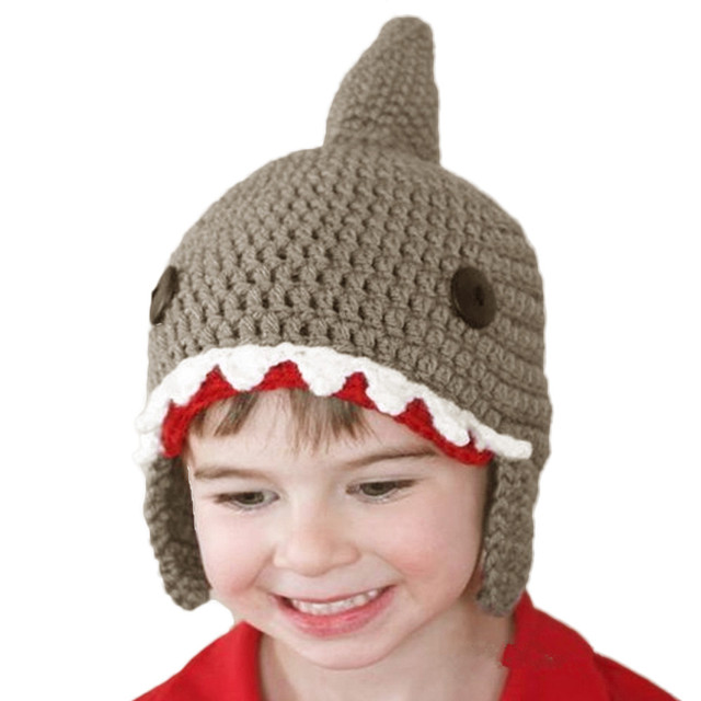 5a3e8b00206e2 2017 Cute Kids Knitted Baby Caps Winter Warm Boys Girls Shark Hats Beanie  Ear Baby Hat Lovely Baby Caps Beanies Hot Sales