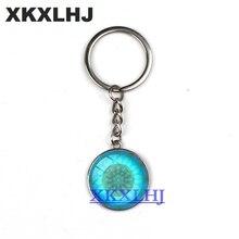 XKXLHJ New Blue Flower Of Life Key Ring Art Glass Pendant Mandala Chain Sacred Geometry Keychain handmade Jewelry For  Gifts