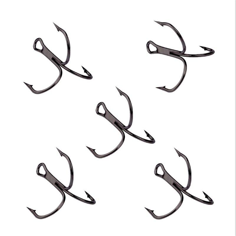 10 unids/lote 2 #4 #6 #8 #10 # anzuelo de pesca negro alto acero al carbono Treble volcado anzuelos aparejos de pesca curva redonda agudos para bajos