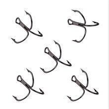 10 шт./лот 2 #4 #6 #8 #10 # черный рыболовный крючок высокоуглеродистой стали тройной перевернутый Крючки рыболовные снасти круглый изгиб тройной для бас