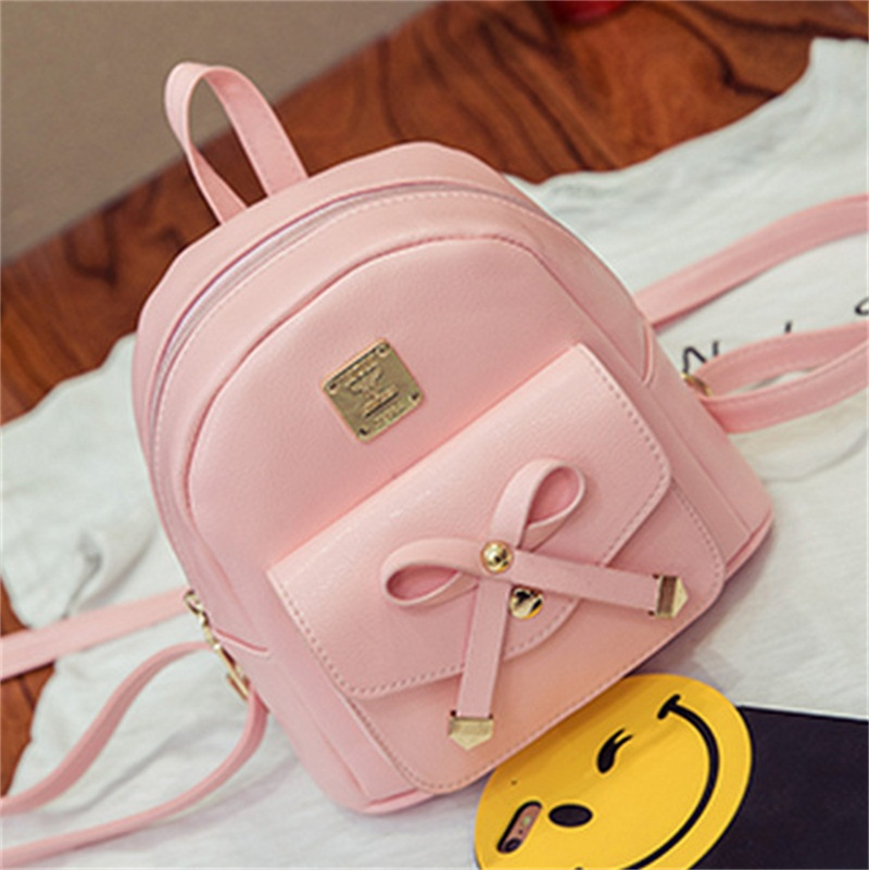 Элегантный бантом студент рюкзак дышащий материал PU рюкзак дамы досуг путешествия плечи мешок милые и модные мини женский