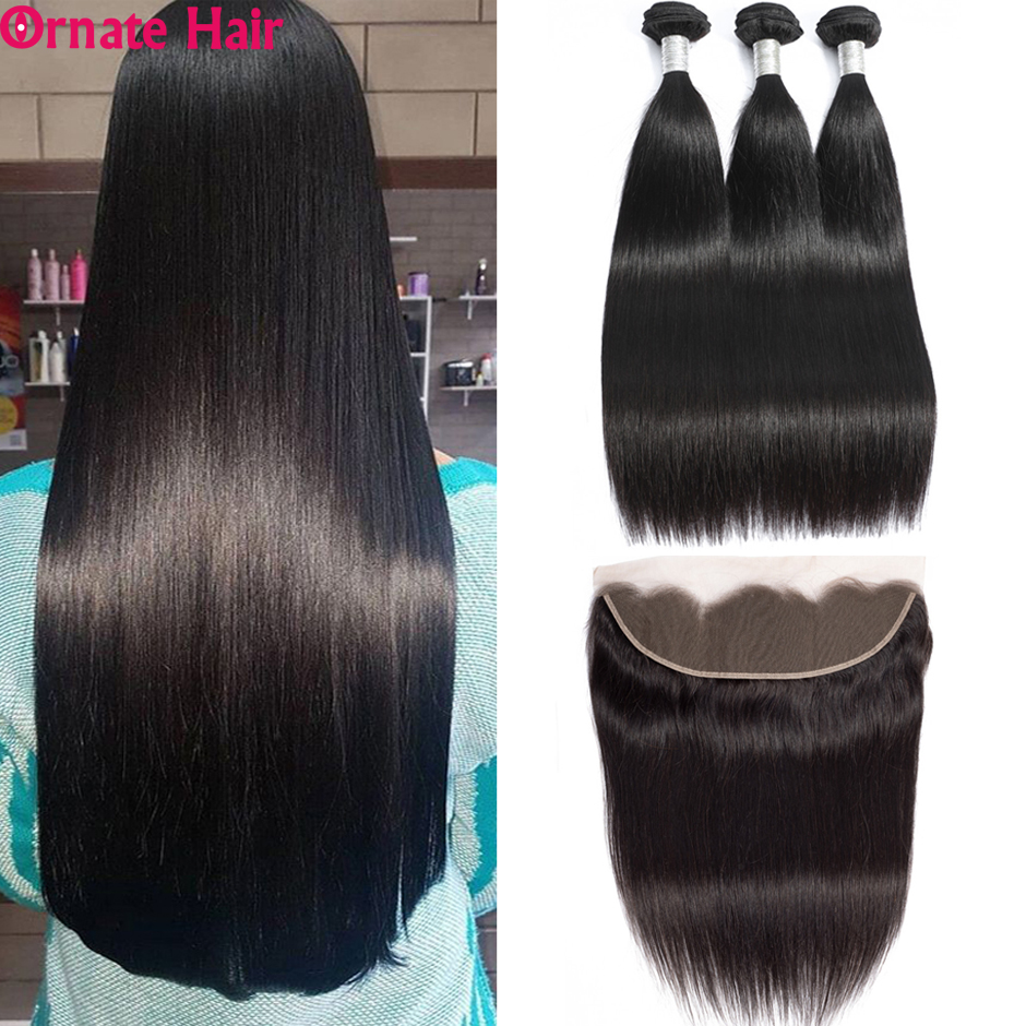 Ornate Straight Hair Bundles With Frontal Brazilian Human Hair Weave Bundles With Closure 13X4 Lace Frontal