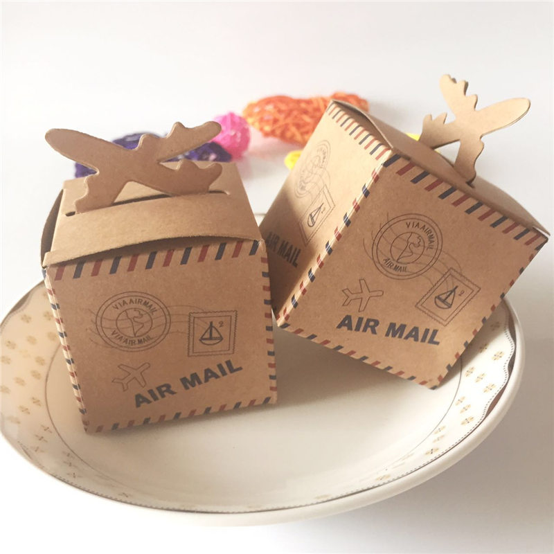 50pcs/lot DIY Air Mail Plane Aircraft Airplane Style Kraft Paper Candy Boxes Baby Shower Souvenirs Party Favors Gift Box