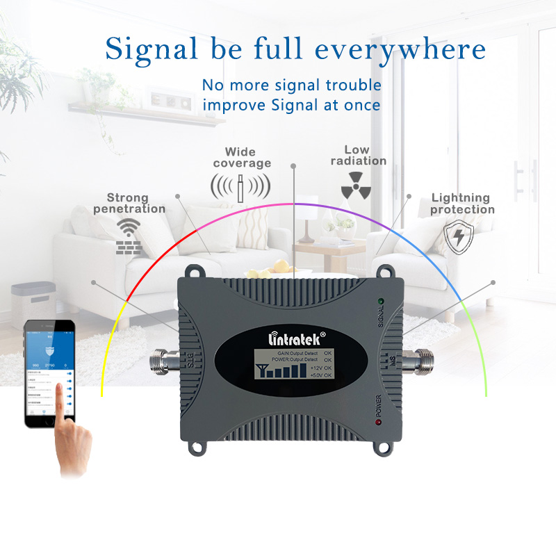 Image 4 - Lintratek 900Mhz GSM Signal Booster 2G Cellphone Signal Repeater GSM 900 65dB Amplifier LCD Display Full Kit KW16L GSM-in Signal Boosters from Cellphones & Telecommunications