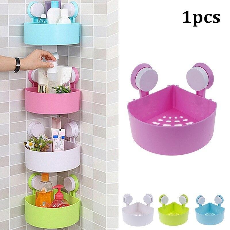 1PCS Bathroom Corner Storage Shower Rack Shelf Organiser Basket Cup Tidy With Suction
