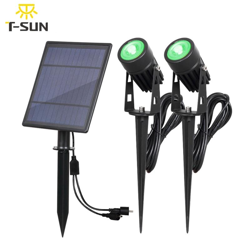 T-SUNRISE Solar Light LED Green Landscape Lamp Two Spotlights With Solar Panel Outdoor Garden Light Courtyard Decoration IP65