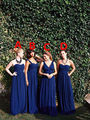 $ Style Royal Blue Chiffon Bridesmaid Dresses for Wedding Sweetheart Straps Pleat Long Vestidos De Festa A Line Maid Guests Gown