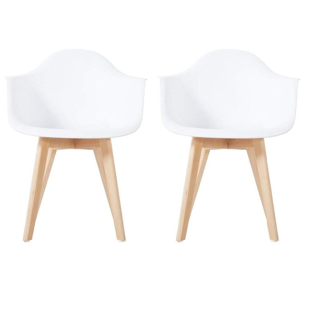 EGGREE Set di 2 Poltrone Ispirare Da Pranzo Sedie di Plastica Salone di Mobili di Design Gambe in legno Massello Soggiorno-Bianco