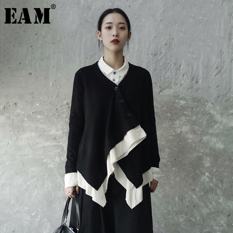 EAM 2019 New Spring Solid Color V collar Long Sleeve Black Knitting White Split Joint