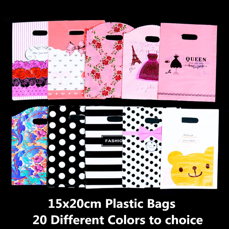 10pcs 15x20cm Plastic Gift Bags With Handles Big Bags For Shops Jewelry Candy Bags Wedding Favors Birthday Party Decoration Kids