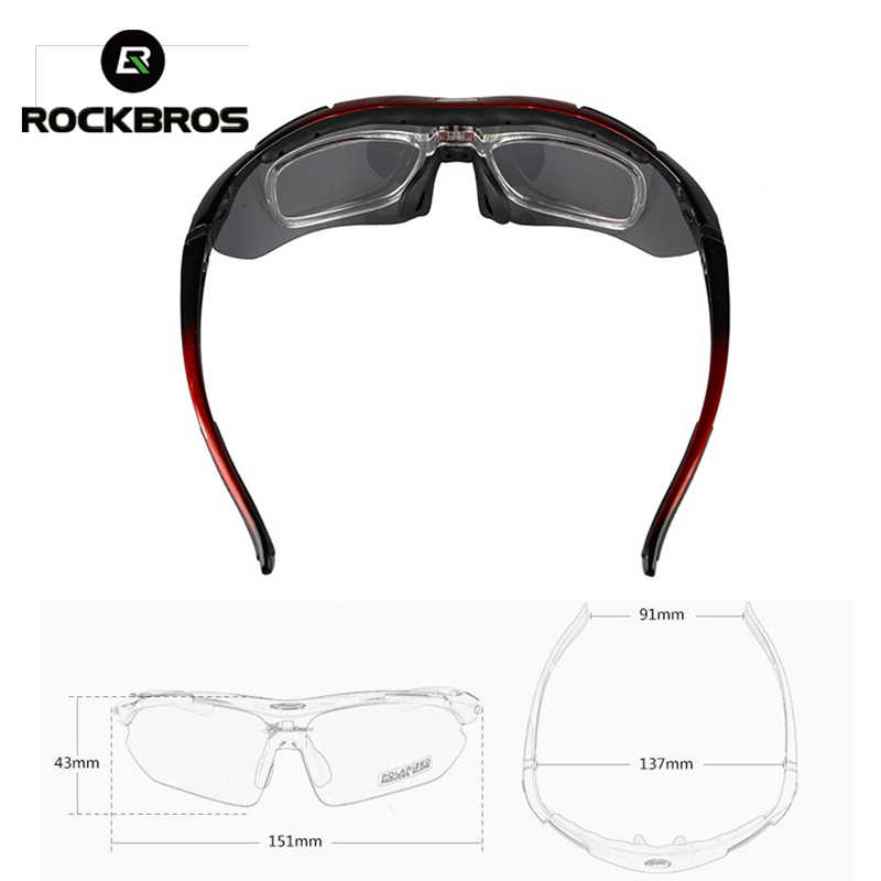 ROCKBROS Pro Polarized Cycling Glasses Bike MTB Sport Sunglasses 5 Lens Goggles