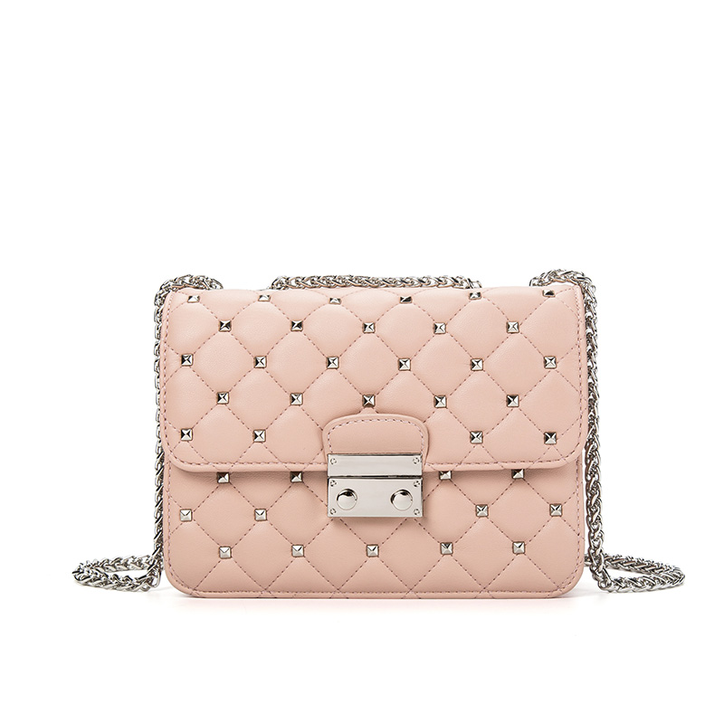Rivet Crossbody Bags For Women Leather Shoulder Bag Small Women Bag Pink Red Luxury Designer Famous Brands Handbags Sac A Main zooler luxury handbags women bags designer genuine leather shoulder bags famous brands crossbody messenger bag ladies sac a main