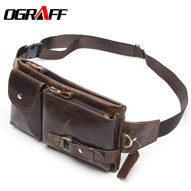 OGRAFF Genuine Leather Waist Packs Fanny Pack Belt Bag Phone Pouch Bags Travel Waist Pack Male Small Waist Bag Leather Pouch