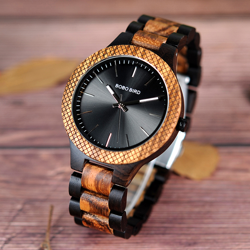 BOBO BIRD Ebony Wooden wrist Watch Wood Strap Quartz Analog watches in gifts box erkek kol saati 2018 fashion watch men retro design leather band analog alloy quartz wrist watch erkek kol saati