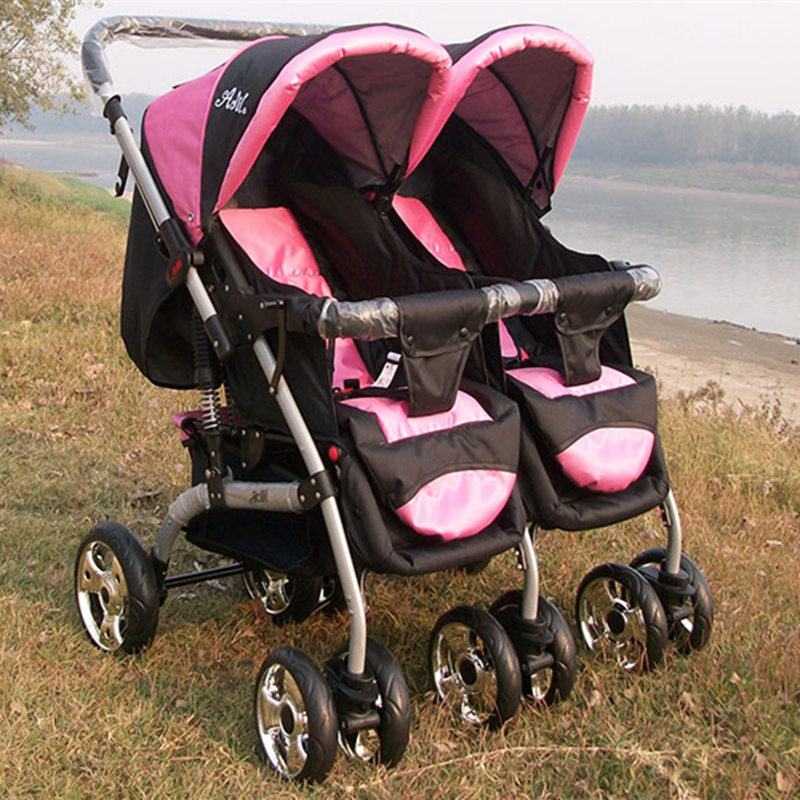 Fashion Folding Twins Stroller Stroller Twins Suspension 2 Seats Baby Carriage Trolley Two-way Pushchair Pram Highview Buggys twins baby stroller carriage cart light folding front and back seats can lie 180 degree double baby stroller for twins pushchair