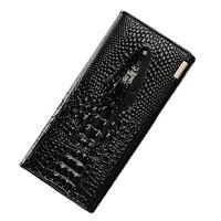 Crocodile Head Genuine Leather Wallet Women Large Compartment Leather Purse Brand Designer Female Coin Purse Card
