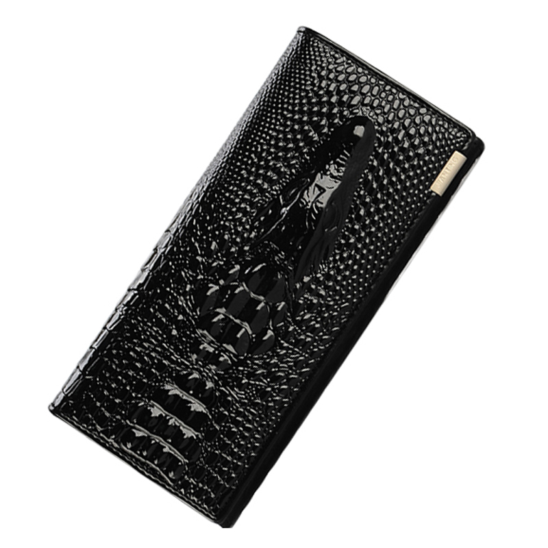Crocodile Head Genuine Leather Wallet Women Large Compartmens