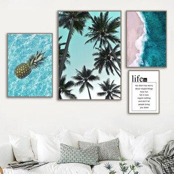 الأناناس النخيل شجرة الأزرق البحر شاطئ إقتباس الرسم على لوحات القماش الجدارية الشمال الملصقات و يطبع جدار صور لغرفة المعيشة ديكور