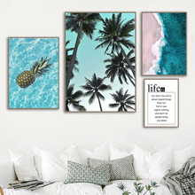 Pineapple Palm Tree Blue Sea Beach Quote Wall Art Canvas Painting Nordic Posters And Prints Pictures For Living Room Decor