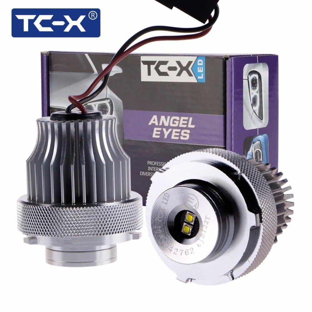 TC-X 2 pcs Angel Eyes pour BMW E60 E61 Ultra Lumineux 10 W 6000 k Voiture de coiffure LED Feux de Position Halo Anneaux LD860W Ange yeux