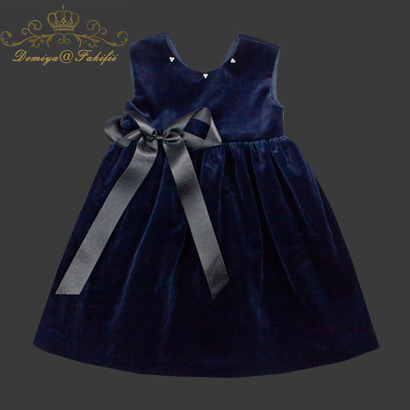 2018 Brand Summer Design Princess Navy Blue Velvet Dress Sleeveless Bow Wedding Dresses Girl Clothes Baby Girl Party Dress 2-10Y summer baby girl s dress cloth cherry blossom korean version sleeveless vest dress princess bow tie vestido