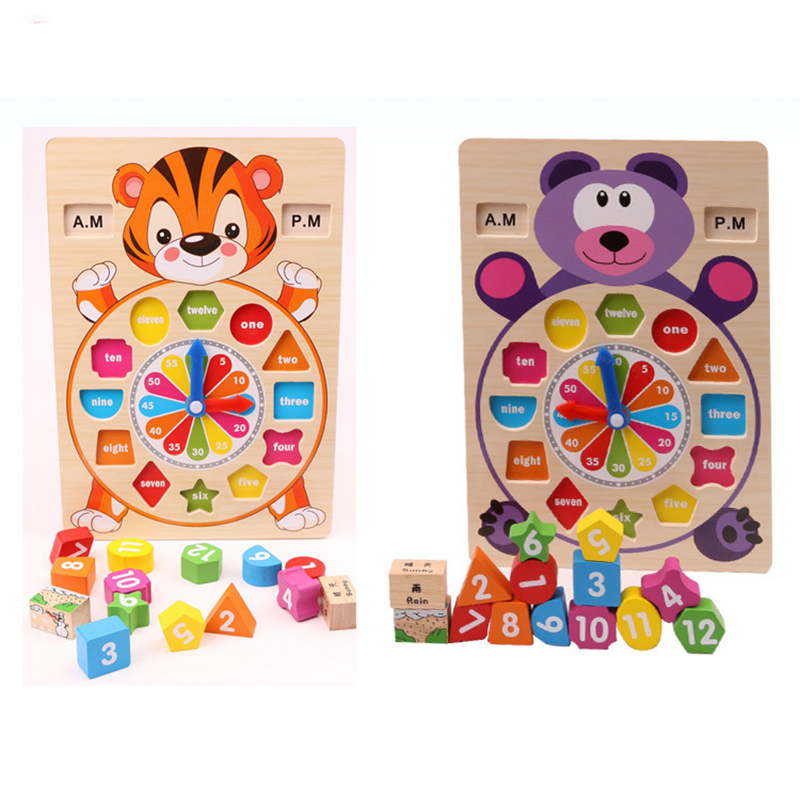 2017 New Animal Wooden 12 Number Weather Colorful Clock Puzzle Enlighten Educational Bricks Toys for Children Baby kids купить