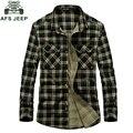 Caliente Marca AFS JEEP Hombres Camisa 100% de Algodón Más El Tamaño S-3XL Camisas Sueltas Casual Chemise Homme camisa masculina prendas de Vestir Exteriores #1636