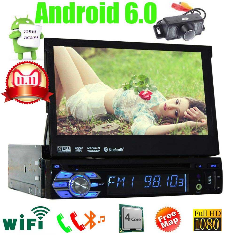 GPS Radio lecteur DVD 1 Din Android voiture PC stéréo Navigation avec WiFi écran tactile Bluetooth Quad CORE 7 pouces écran partagé carte