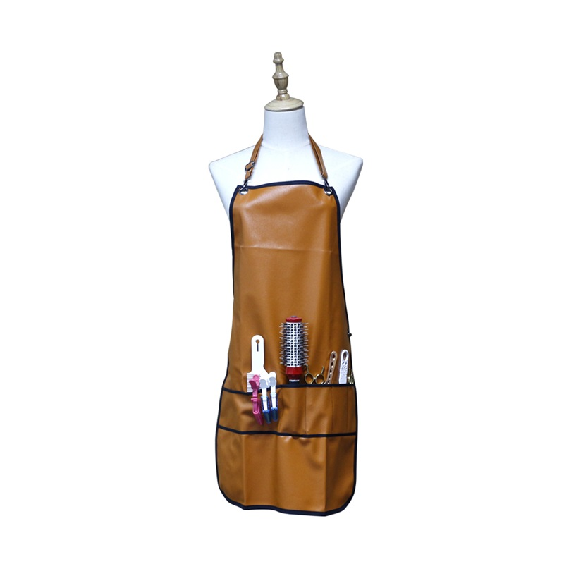 Professional Barber Apron With Pockets Leather Waterproof PU Hairdressing Apron Cape  Cutting  Hair Cape For Barber