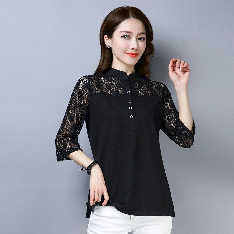 2019 Femmes hauts et chemisiers décontracté col montant 3/4 Manches Dentelle Chemisier Bureau Dames Chemises tops tuniques Blusas grande taille 5XL
