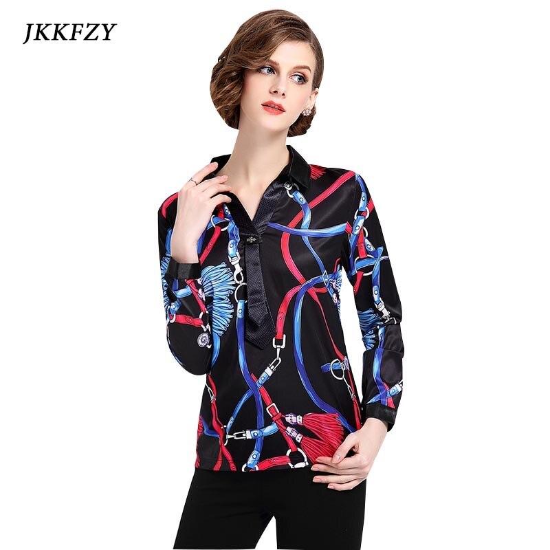 Fashion Autumn Shirts Women Chiffon Blouses 2018 New Luxury Print OL Female Tops Retro Vintage Work Wear