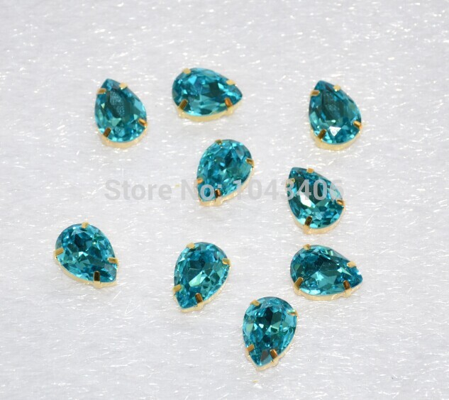 free shippmen!sew on rhinestone top quality crystal 13x18mm aquamarine color top A BlingBling for jewelry finding