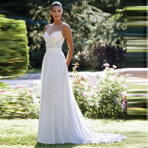 Princess Boho Simple Cheap Chiffon A Line Wedding Dress Appliqued Top Spaghetti Straps Train Bridal Gown Free Shipping