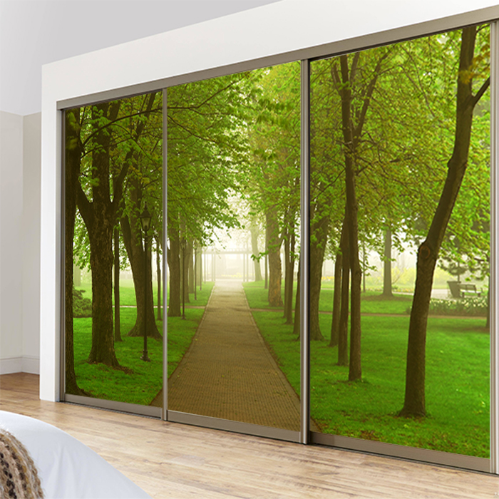 forest landscape custom sliding door partition wall painting decorative painting glass window film