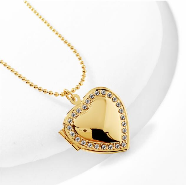 Classic Memory Photo Frame Rhinestone Crystal Heart Pendant Locket Necklace For Womens Jewellery Fashion Necklaces Jewelry 10