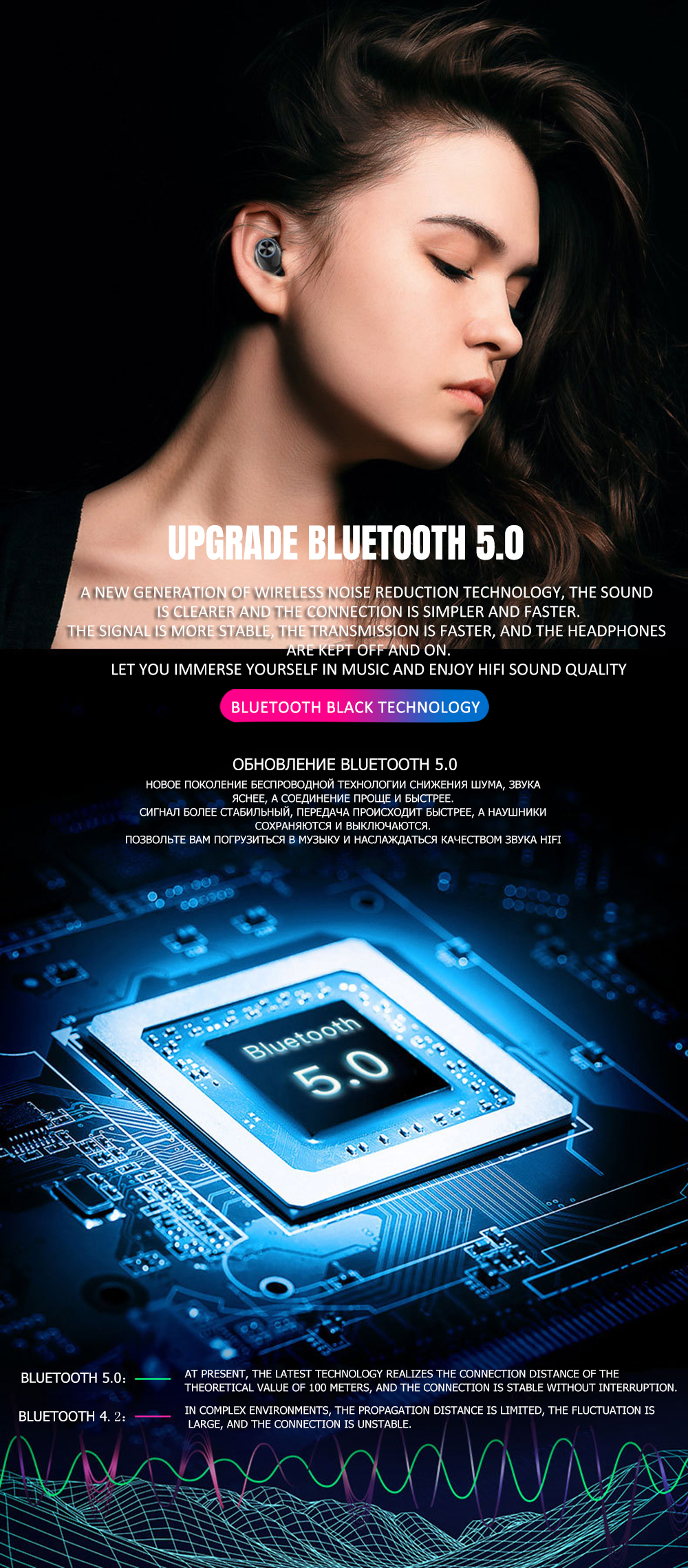 REALTEK 5.0 TWS VAORLO Verdadeira Música Estéreo