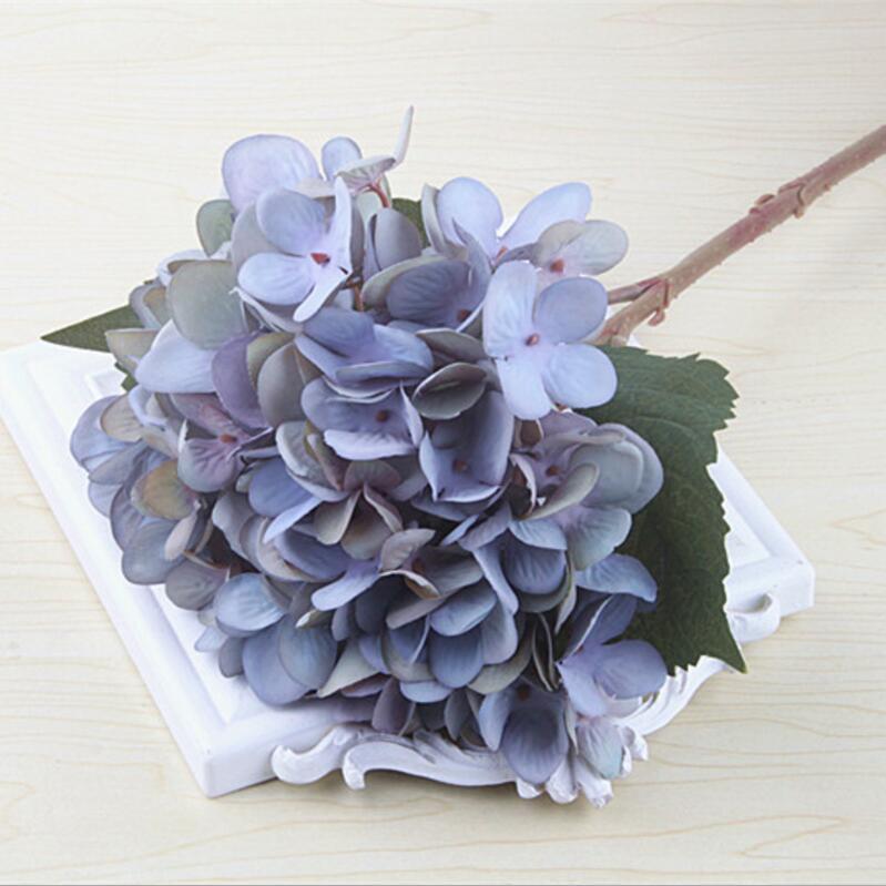 46CM Grey Purple Artificial Hydrangea Silk Flowers for Wedding Bouquet Flower Arrangements 2PCS/lot