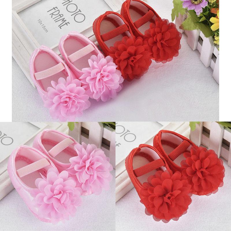 Newest Baby Girls Princess Crib Shoes Soft Sole Anti-slip Prewalkers 0-18m Fashion Flower First Walkers