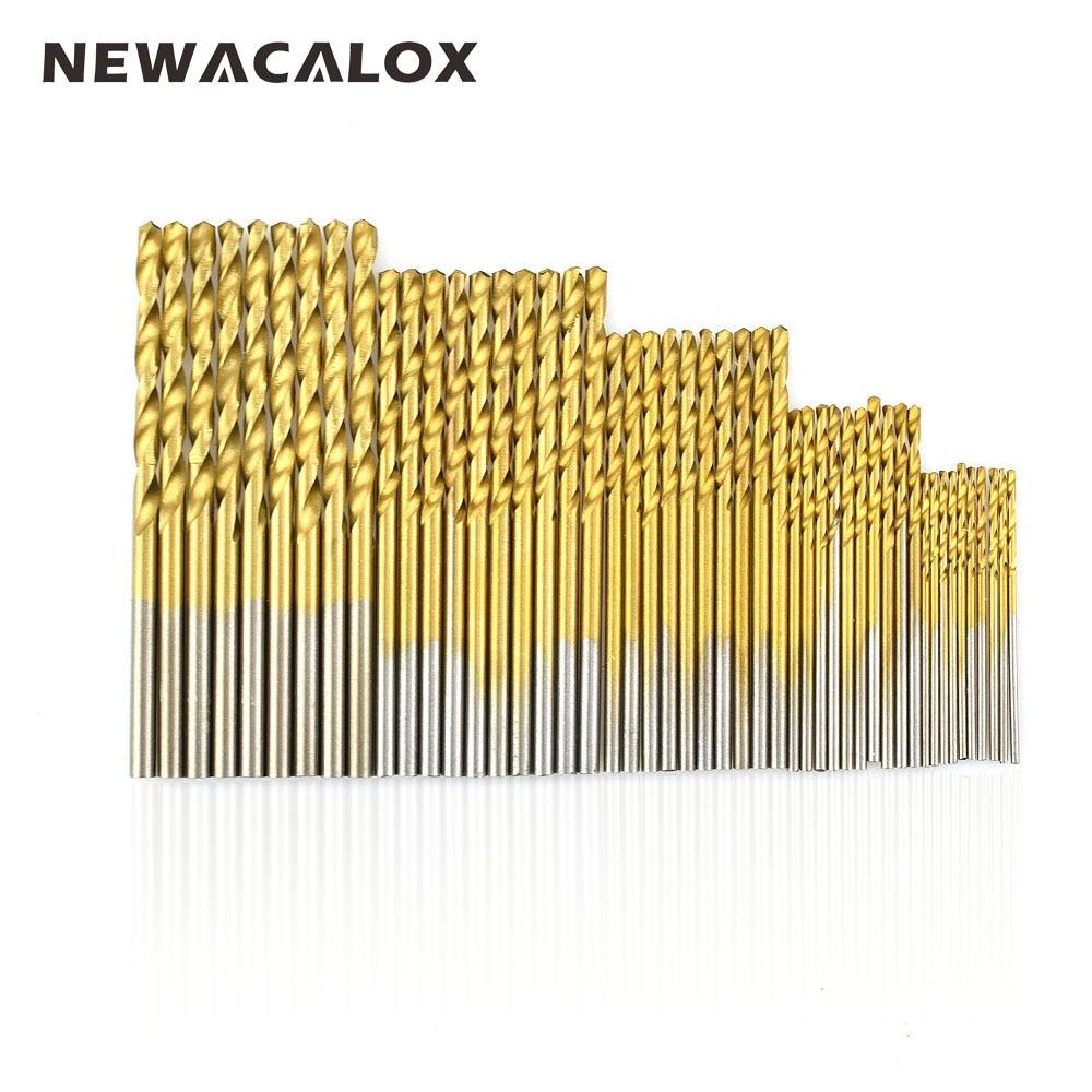 NEWACALOX Woodworking Wood Tool Titanium Coated HSS High Speed Steel Drill Bit Set  1/1.5/2/2.5/3mm 50Pcs/lot 13pcs lot high speed steel hss titanium coated drill bit set 1 4 hex shank 1 5 6 5mm